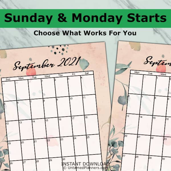 Gingko monthly calendar has weekly start days of Sunday & Monday to choose from.