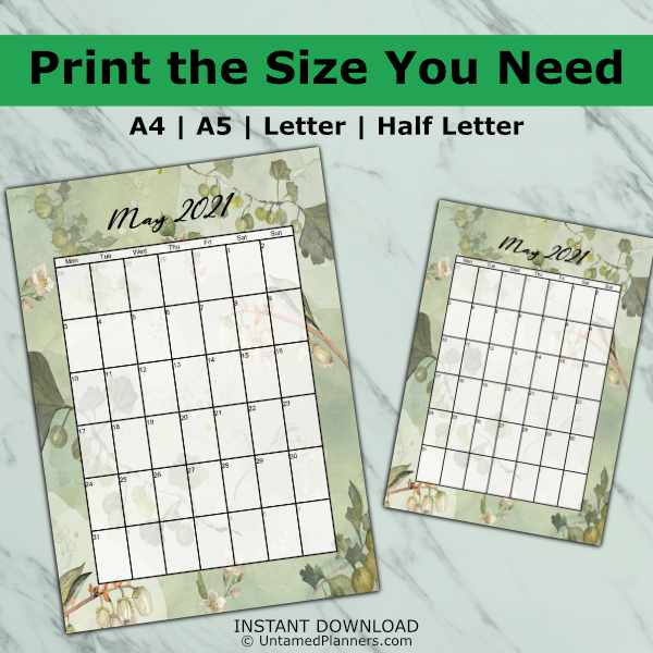 Gingko biloba printable calendar is available in four common sizes to choose from.