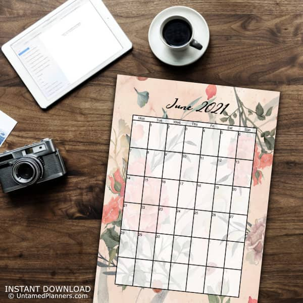An example of the June 2021 page with a floral background.