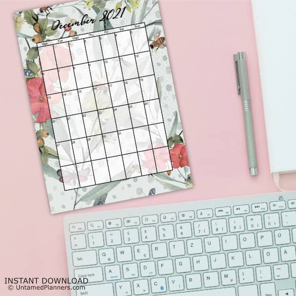 An example of the December 2021 page with a floral background.